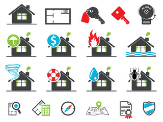 Estate insurance icons