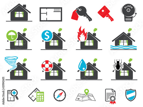 Estate insurance icons
