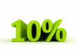 Ten percent green 3d text