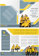 Yellow and blue template for advertising with business people