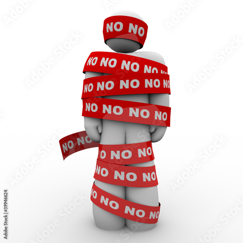 No Word Man Wrapped in Red Tape Denied Rejection