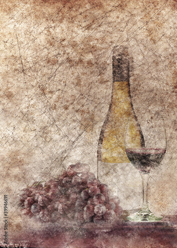 Grunge wine bottle and grapes