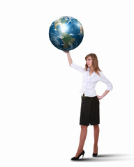 Businesswoman with our planet earth