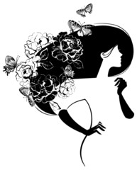 Beautiful woman silhouette with flowers and butterflies in haer