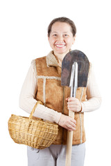 mature  woman   with spade and basket