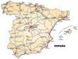 Landkarte von Spanien mit Autobahnen und Hauptstädten