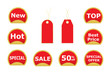 set of red stickers and price tags vector illustration