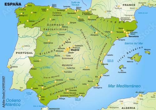 Landkarte von Spanien mit Hauptstädten