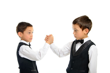 twins playing arm wrestling isolated