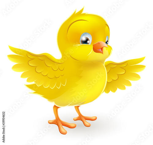 Cute happy little yellow Easter chick