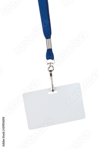 blank badge on blue cord