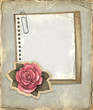 Vintage notepaper and illustration of rose