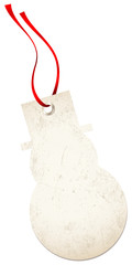 Christmas Hangtag Snowman Red Bow