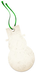 Christmas Hangtag Snowman Green Bow