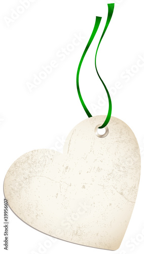 Hangtags Heart Green Bow