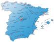 Landkarte von Spanien mit Hauptstädten in blau