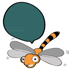 dragonfly with speech bubble