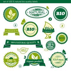 Set of natural bio quality labels 1