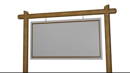 Hinweistafel - leer am Holzgestell - Video