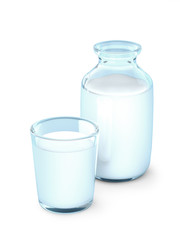 Milk glass and bottle