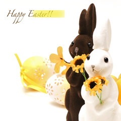 Brown and white easter bunny with eggs