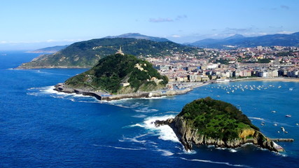 Aerial view to San Sebastian city, Basque, Spain.