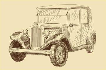 retro old car vintage drawing vector illustration