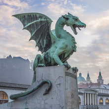 Dragon Bridge (Dragon Bridge), Ljubljana, Slovenië, Europa