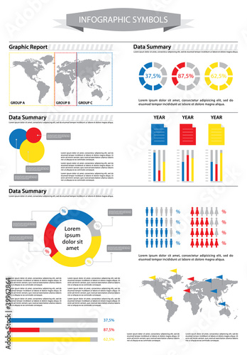 Detail info graphic with World Map and Business data summary