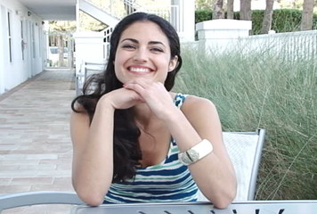 Slow motion multi ethnic woman smiling on vacation