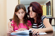 Girl reading a book with her beautiful mother