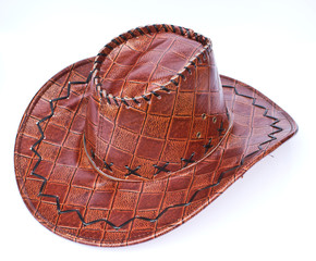 Brown leather hat isolated on white
