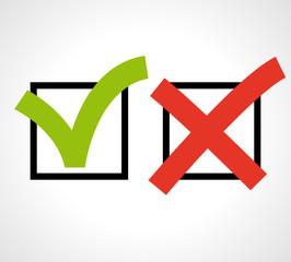 Check box. Right or wrong. True or false.