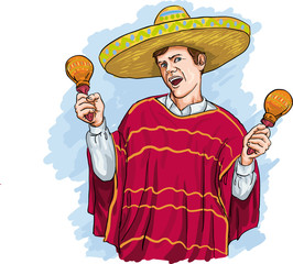 Man in poncho and sombrero playing maraca