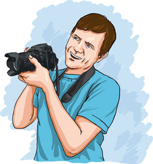 Happy photographer holding DSLR camera at work