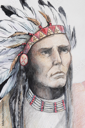 color drawing of american indian with feathers - 39966247
