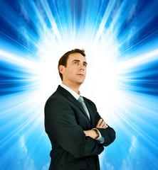 businessman sunlight