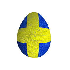 easter egg with grunge Saweden flag isolated  on white backgroun