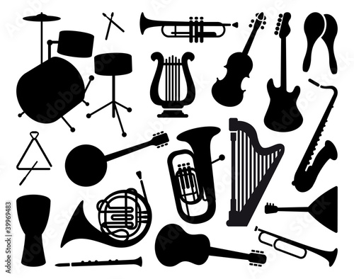 Silhouettes of musical instruments
