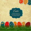 Easter vintage card with eggs and frame
