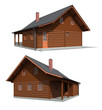 Two perspectives of the timber house on the white background