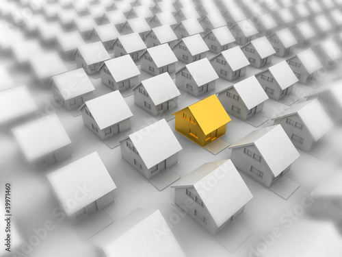 Render of a golden house between the silver white houses.