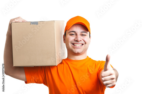 Deliverer thumbs up holding a box