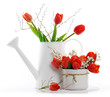arrangement with red tulips