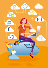 Cloud Computing Woman With Laptop