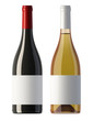burgundy  shape red and white wine bottles with blank labels - 39974826