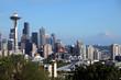 Seattle skyline & Mt Rainier, WA., state.