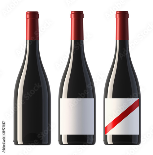 canvas print picture pictures of burgundy shape red wine bottles with blank labels an