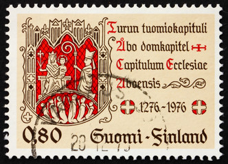 Postage stamp Finland 1976 Turku Chapter Seal