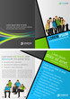 Green, blue and gray template with business people